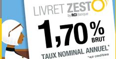 Un placement sans risque avec le livret Zesto : Taux à 1,70%